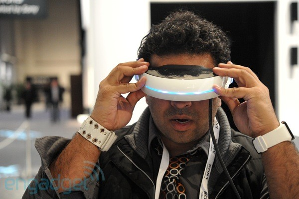 Sony's 3D head-mounted display prototype face-on