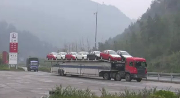 Chinese automotive transport double-decker dual-car loader