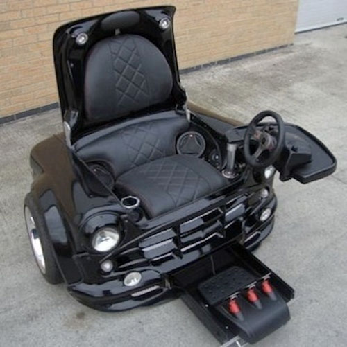 Half Mini Cooper, half racing chair… all awesome