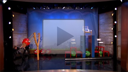 Conan plays life-sized Angry Birds with Ikea furniture