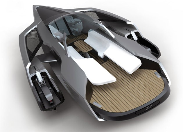 Audi trimaran concept floats hybrid propulsion on the open water
